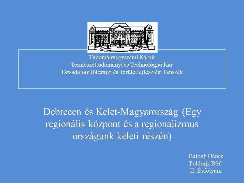 DEBRECENI EGYETEM Tudományegyetemi Karok Természettudományi és Technológiai Kar Társadalom földrajzi és Területfejlesztési Tanszék
