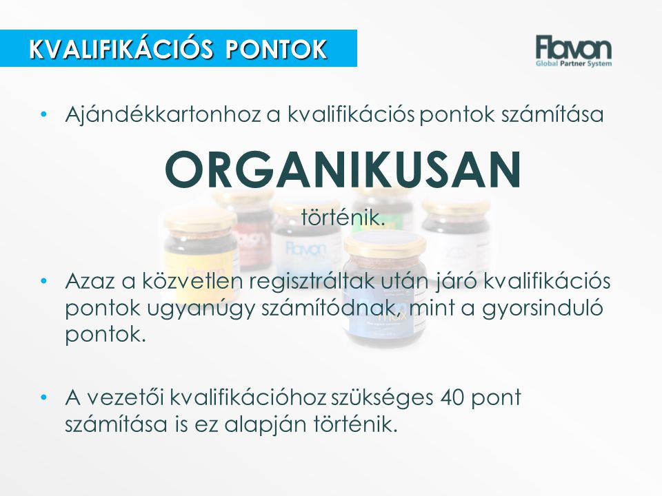 ORGANIKUSAN KVALIFIKÁCIÓS PONTOK