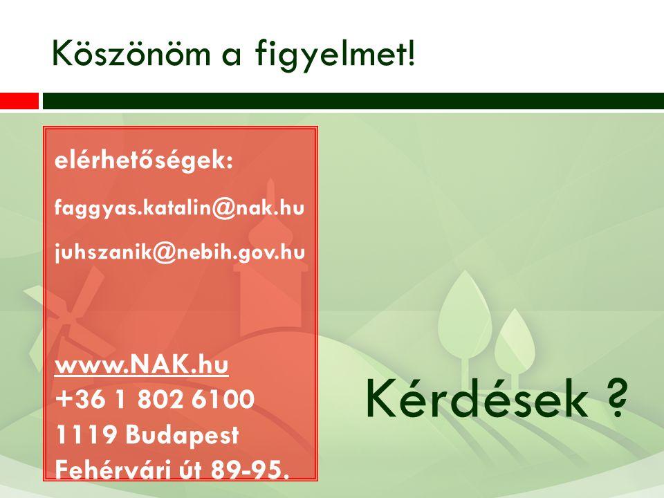 Kérdések Köszönöm a figyelmet! elérhetőségek: www.NAK.hu