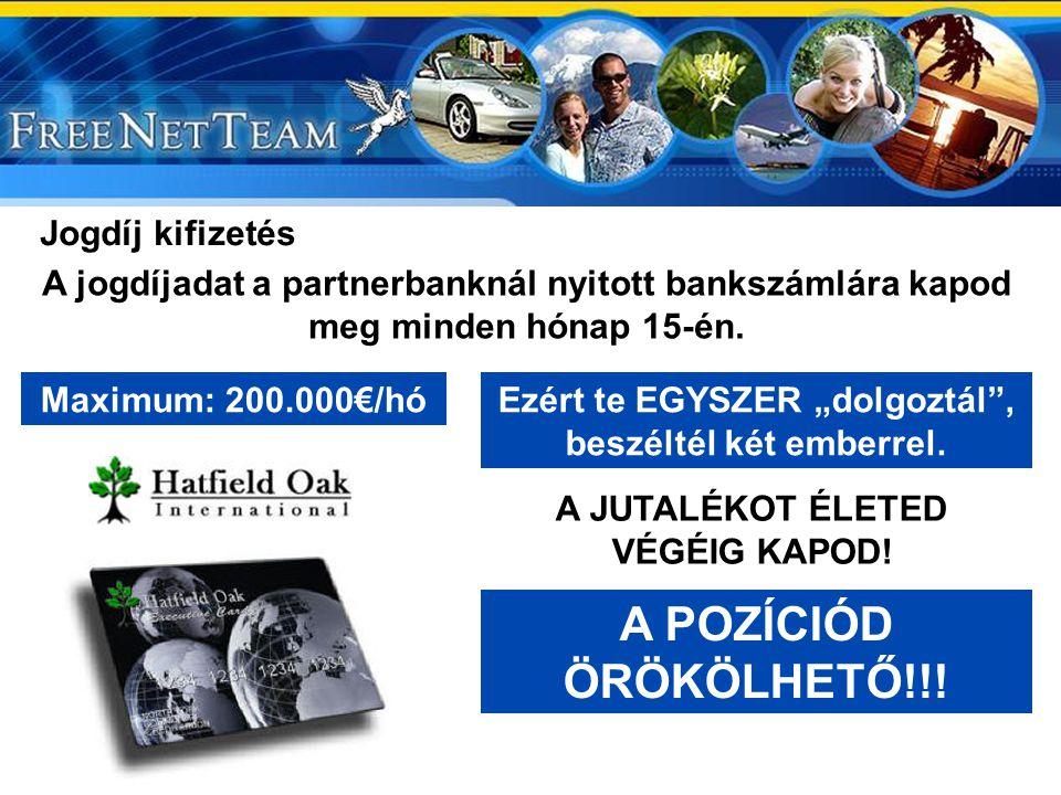 A POZÍCIÓD ÖRÖKÖLHETŐ!!! Jogdíj kifizetés