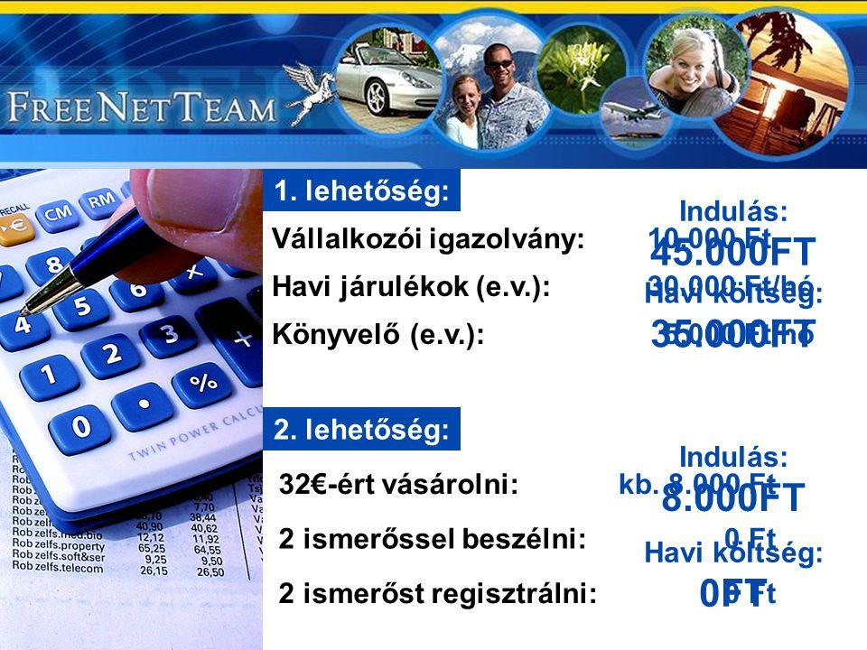 1. lehetőség: Indulás: 45.000FT. Vállalkozói igazolvány: 10.000 Ft. Havi járulékok (e.v.): 30.000 Ft/hó.