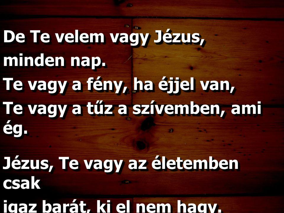 De Te velem vagy Jézus, minden nap. Te vagy a fény, ha éjjel van, Te vagy a tűz a szívemben, ami ég.