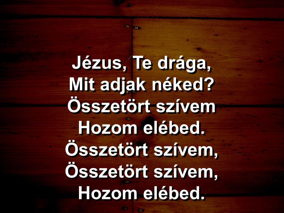 Jézus, Te drága, Mit adjak néked Összetört szívem Hozom elébed. Összetört szívem,