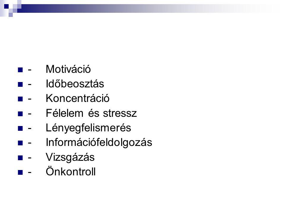 - Motiváció - Időbeosztás. - Koncentráció. - Félelem és stressz. - Lényegfelismerés. - Információfeldolgozás.