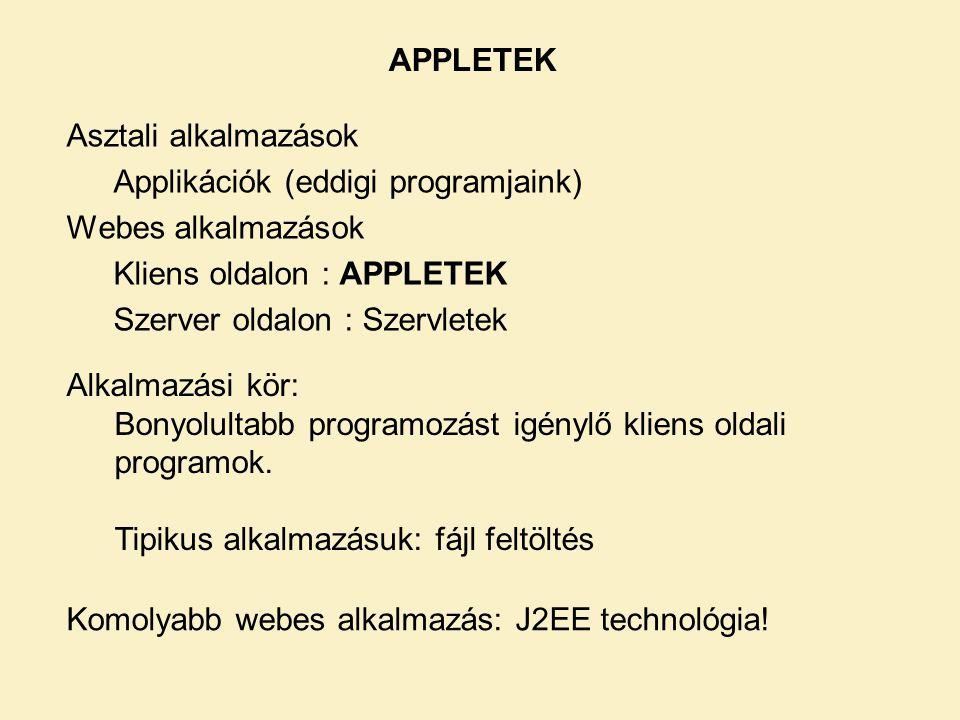 APPLETEK Asztali alkalmazások. Applikációk (eddigi programjaink) Webes alkalmazások. Kliens oldalon : APPLETEK.