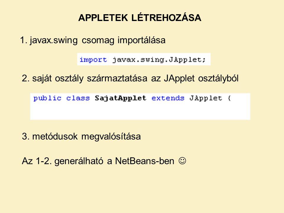 APPLETEK LÉTREHOZÁSA 1. javax.swing csomag importálása. 2. saját osztály származtatása az JApplet osztályból.