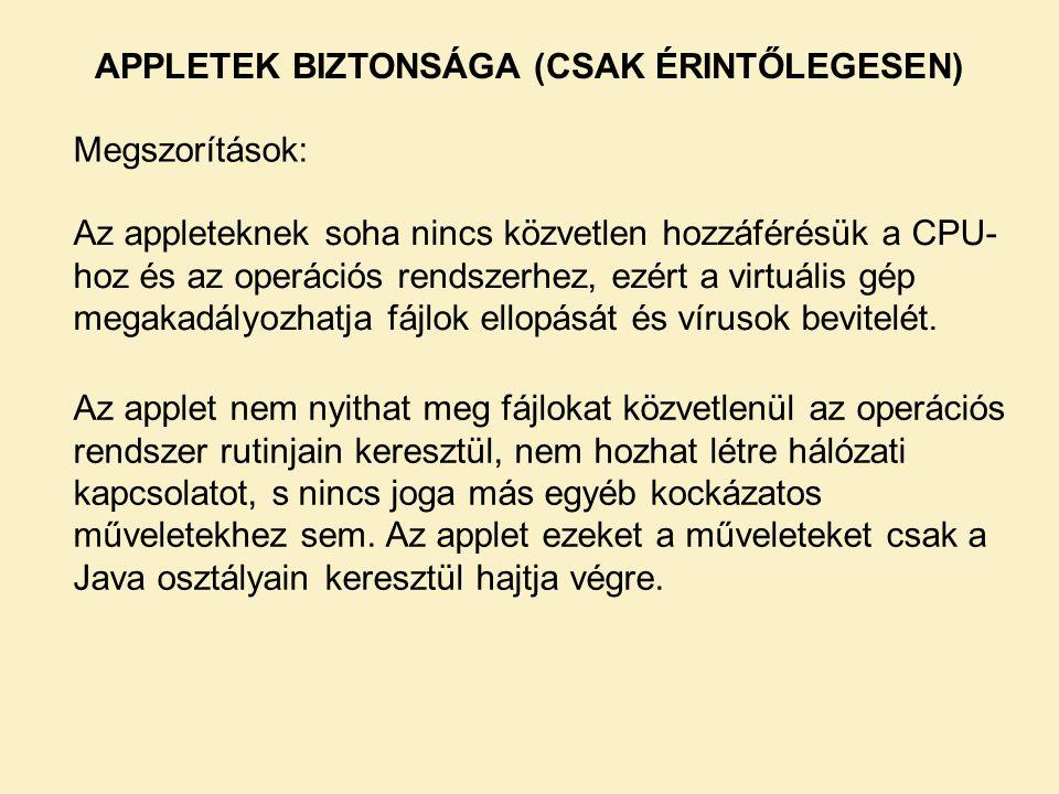 APPLETEK BIZTONSÁGA (CSAK ÉRINTŐLEGESEN)