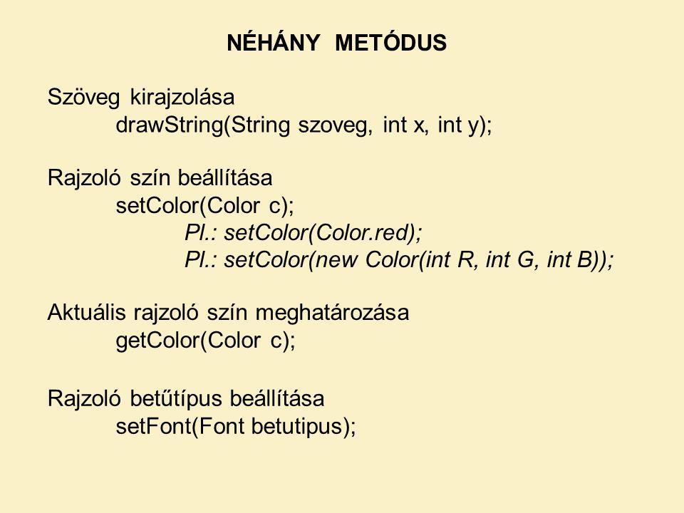 NÉHÁNY METÓDUS Szöveg kirajzolása. drawString(String szoveg, int x, int y); Rajzoló szín beállítása.