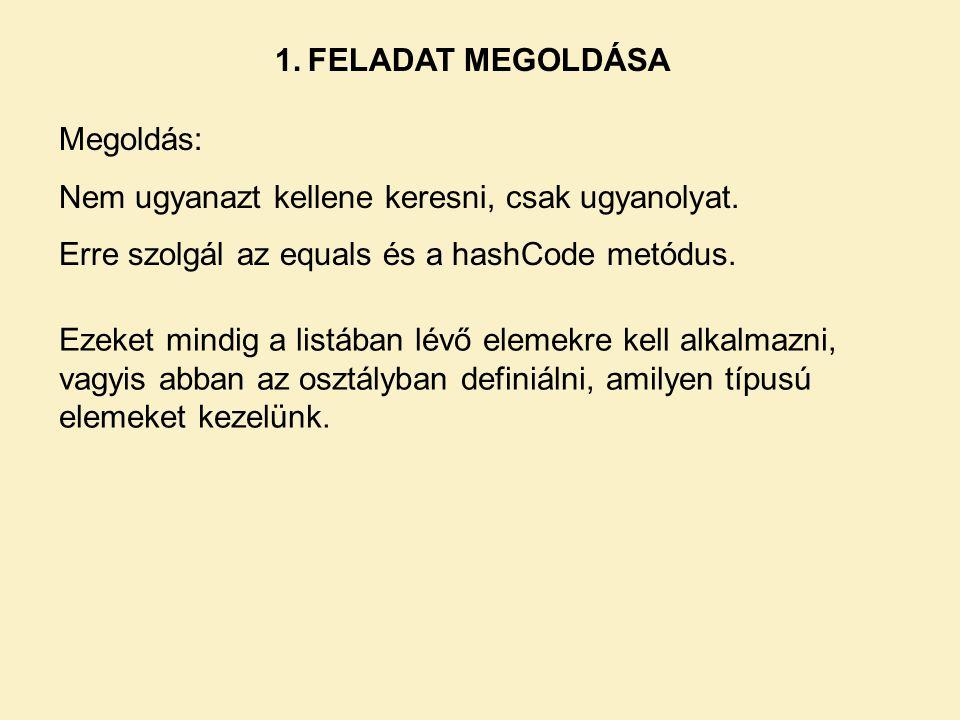 1. FELADAT MEGOLDÁSA Megoldás: Nem ugyanazt kellene keresni, csak ugyanolyat. Erre szolgál az equals és a hashCode metódus.