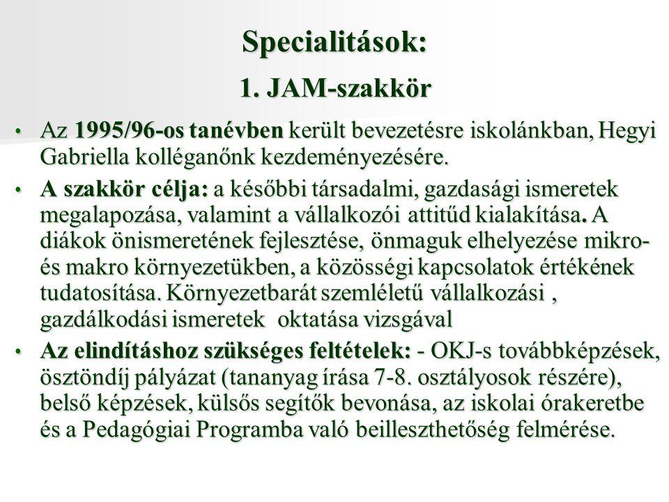 Specialitások: 1. JAM-szakkör