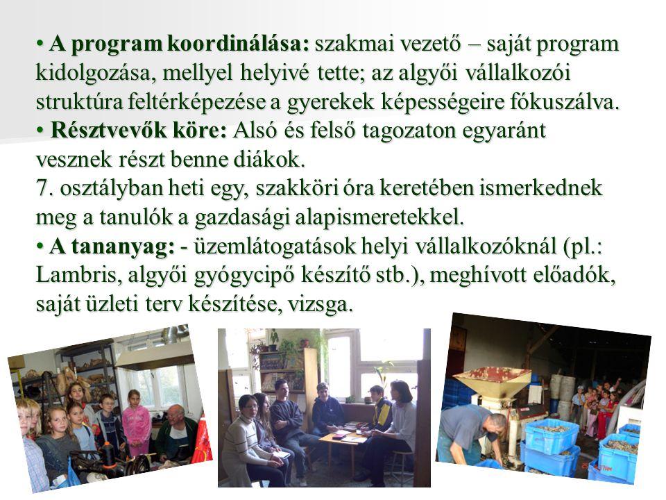 A program koordinálása: szakmai vezető – saját program kidolgozása, mellyel helyivé tette; az algyői vállalkozói struktúra feltérképezése a gyerekek képességeire fókuszálva.