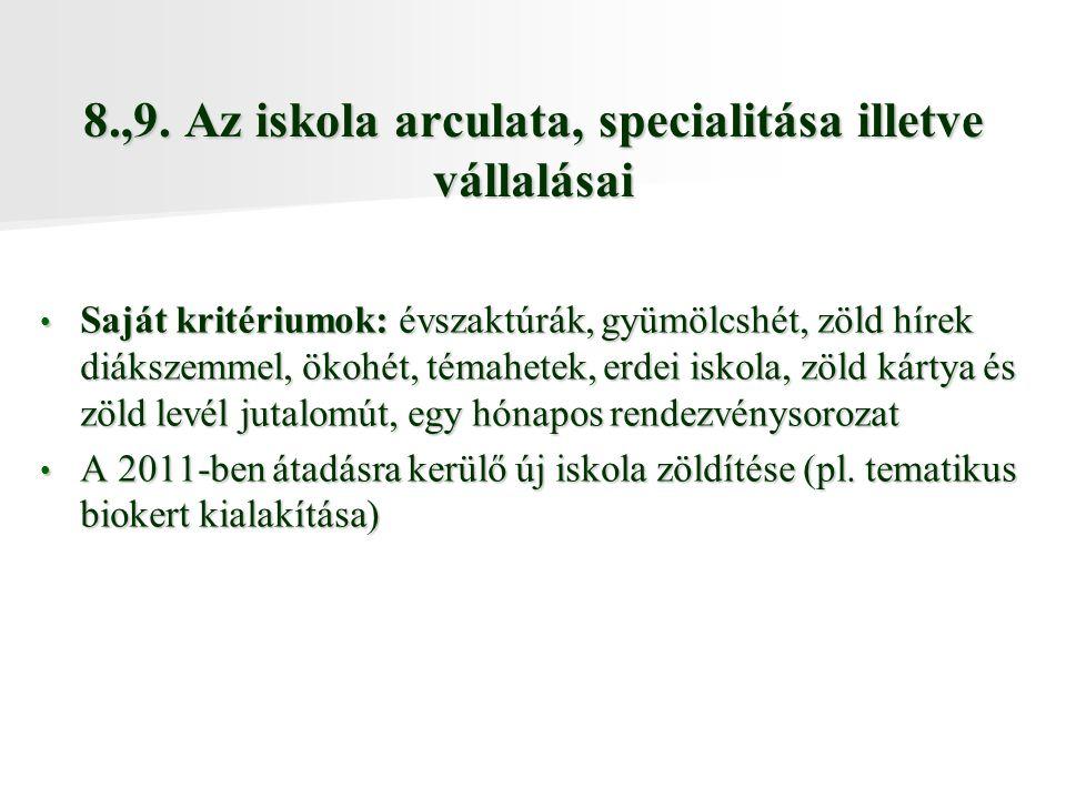 8.,9. Az iskola arculata, specialitása illetve vállalásai