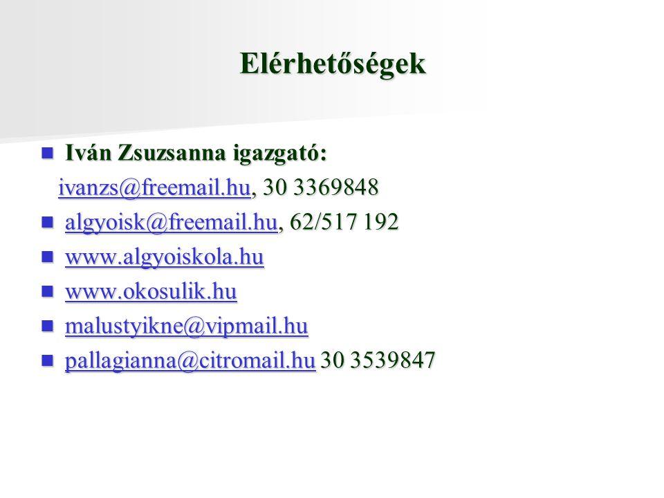 Elérhetőségek Iván Zsuzsanna igazgató: ivanzs@freemail.hu, 30 3369848