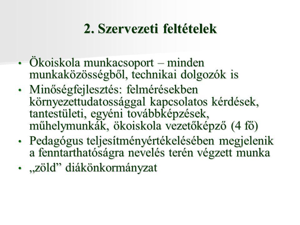 2. Szervezeti feltételek
