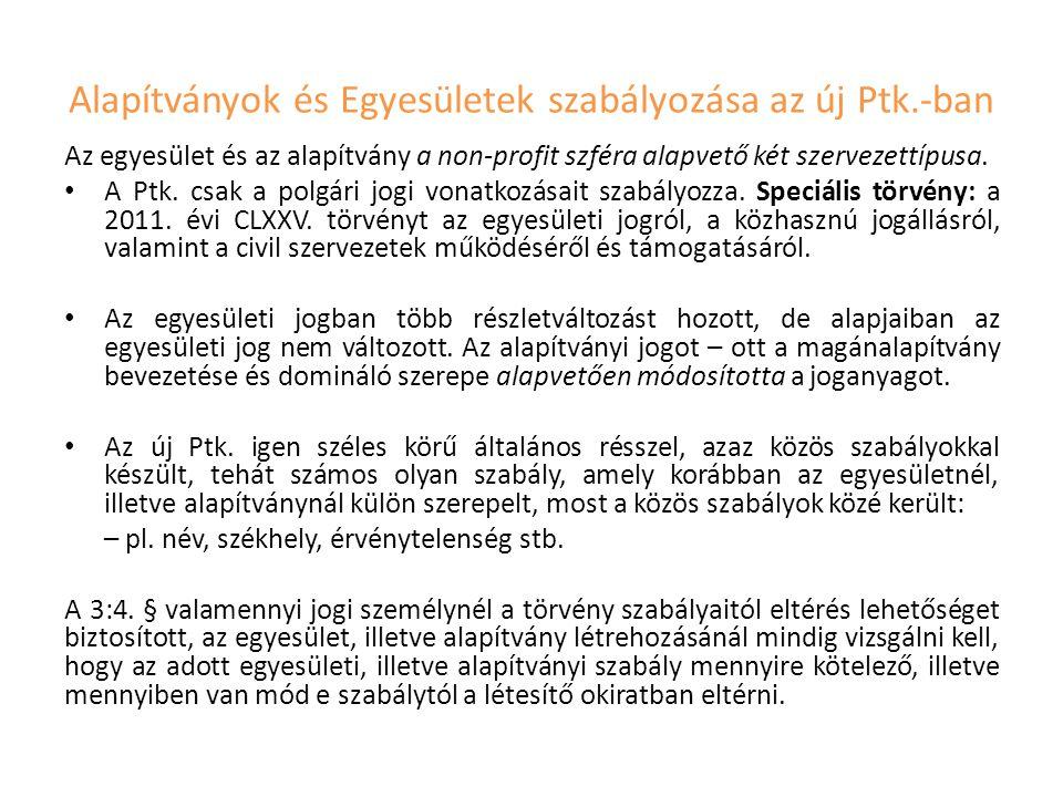 Alapítványok és Egyesületek szabályozása az új Ptk.-ban
