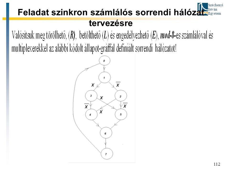 Feladat szinkron számlálós sorrendi hálózat tervezésre
