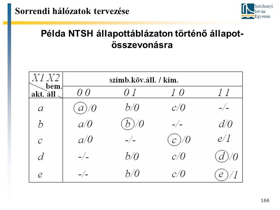 Példa NTSH állapottáblázaton történő állapot-összevonásra