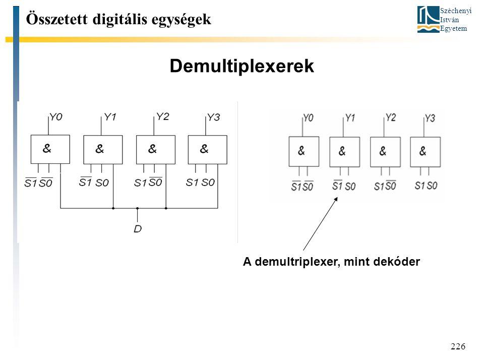 Demultiplexerek Összetett digitális egységek