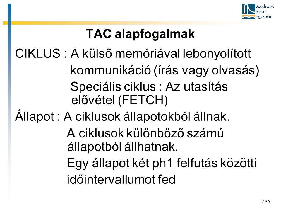 TAC alapfogalmak CIKLUS : A külső memóriával lebonyolított. kommunikáció (írás vagy olvasás) Speciális ciklus : Az utasítás elővétel (FETCH)