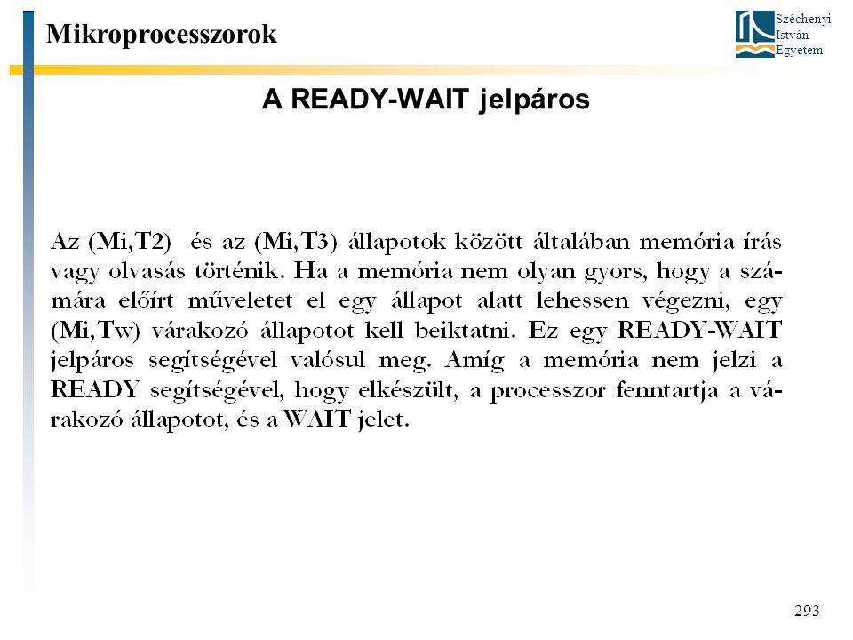 Mikroprocesszorok A READY-WAIT jelpáros