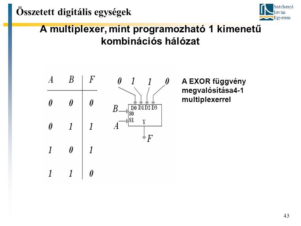A multiplexer, mint programozható 1 kimenetű kombinációs hálózat
