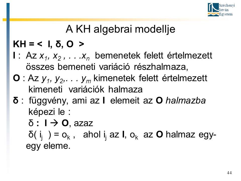 A KH algebrai modellje KH = < I, δ, O >