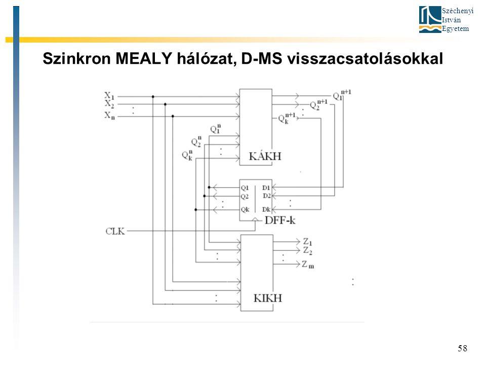 Szinkron MEALY hálózat, D-MS visszacsatolásokkal