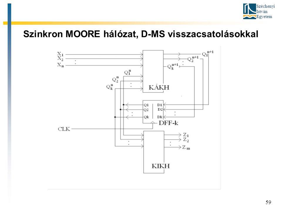 Szinkron MOORE hálózat, D-MS visszacsatolásokkal