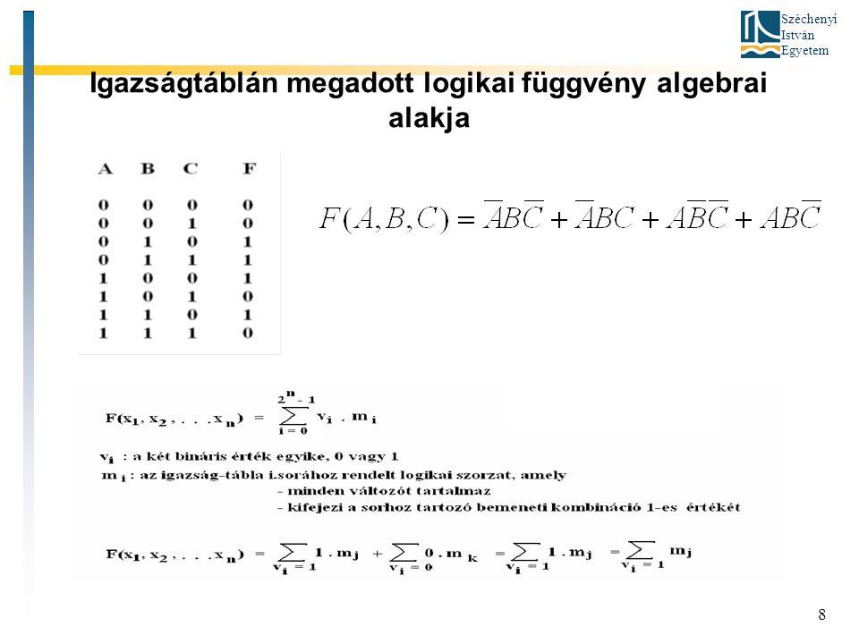 Igazságtáblán megadott logikai függvény algebrai alakja