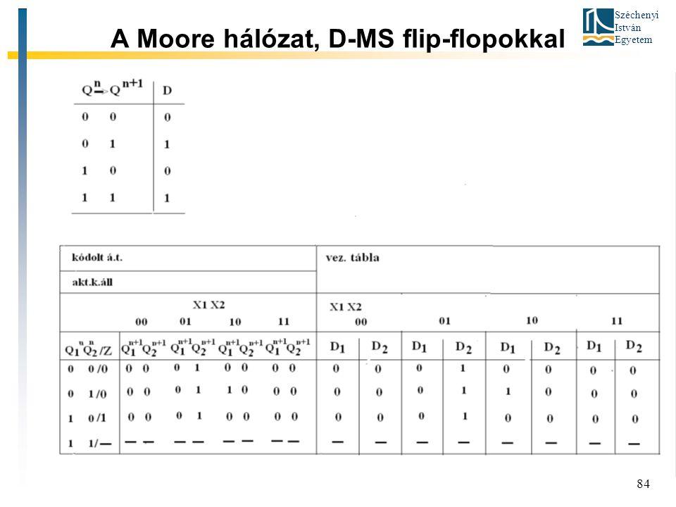 A Moore hálózat, D-MS flip-flopokkal