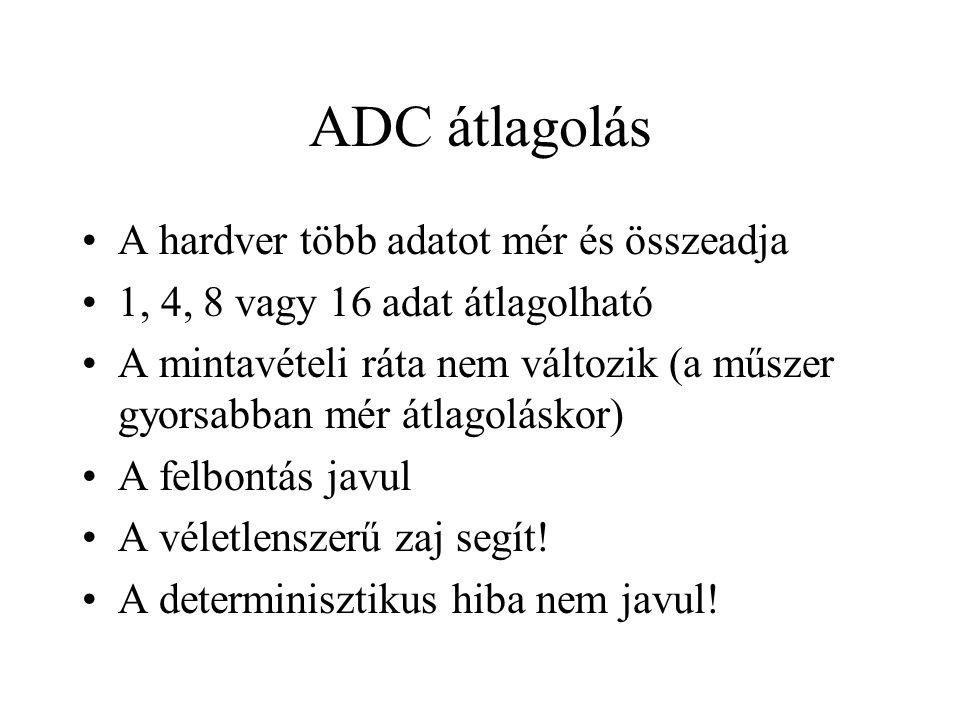 ADC átlagolás A hardver több adatot mér és összeadja