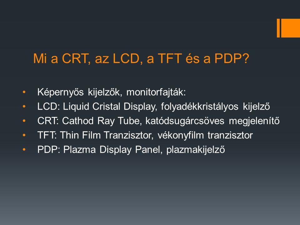 Mi a CRT, az LCD, a TFT és a PDP