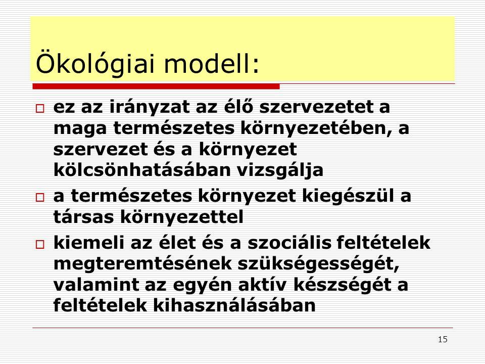 Ökológiai modell: ez az irányzat az élő szervezetet a maga természetes környezetében, a szervezet és a környezet kölcsönhatásában vizsgálja.