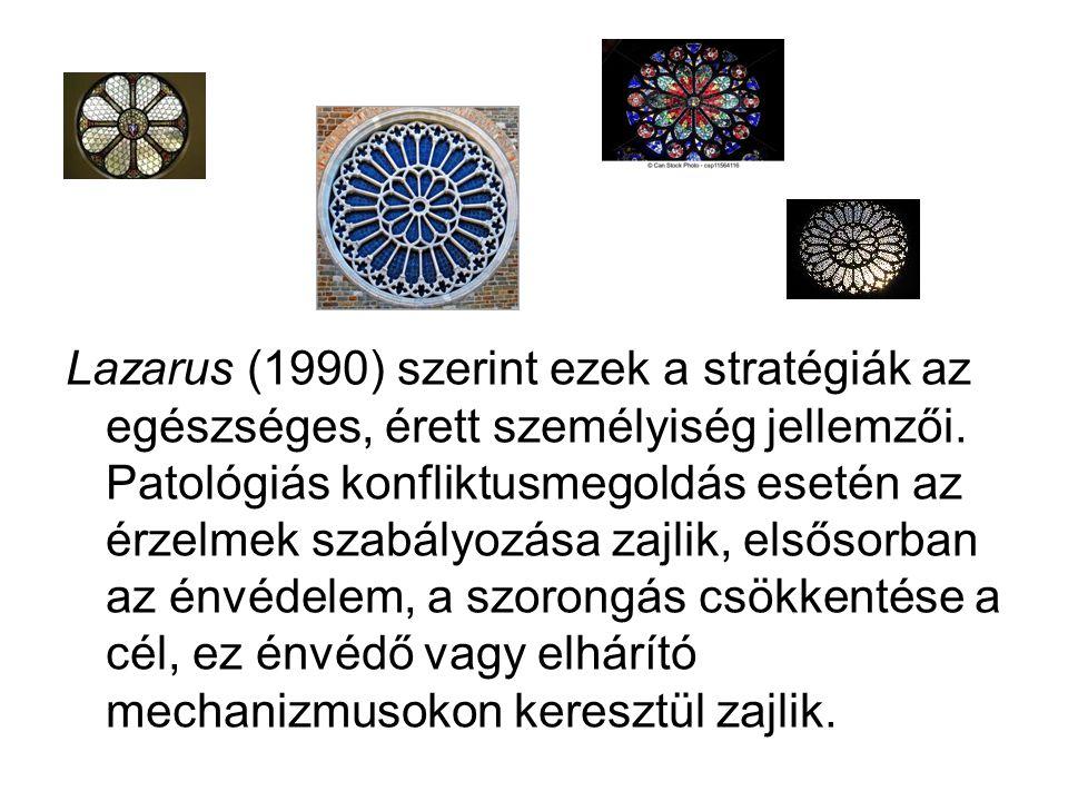 Lazarus (1990) szerint ezek a stratégiák az egészséges, érett személyiség jellemzői.