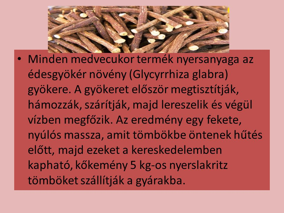 Minden medvecukor termék nyersanyaga az édesgyökér növény (Glycyrrhiza glabra) gyökere.