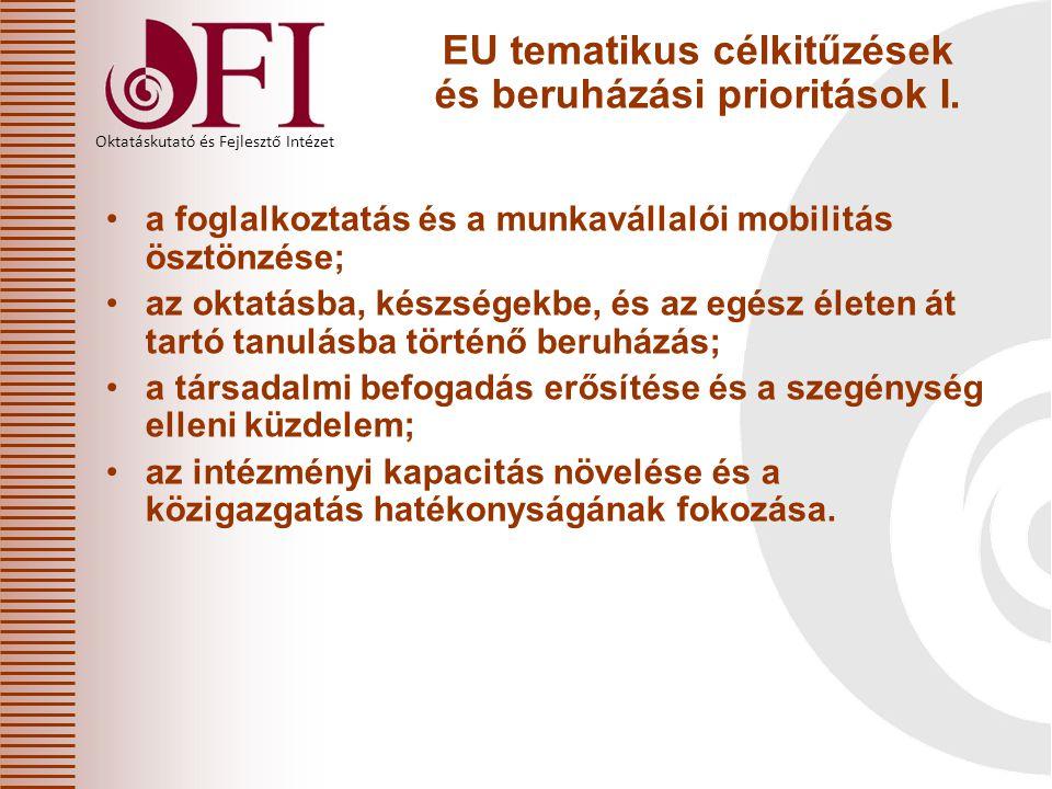 EU tematikus célkitűzések és beruházási prioritások I.