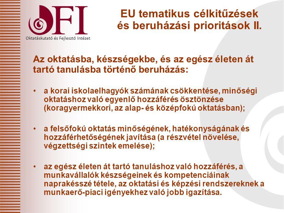 EU tematikus célkitűzések és beruházási prioritások II.