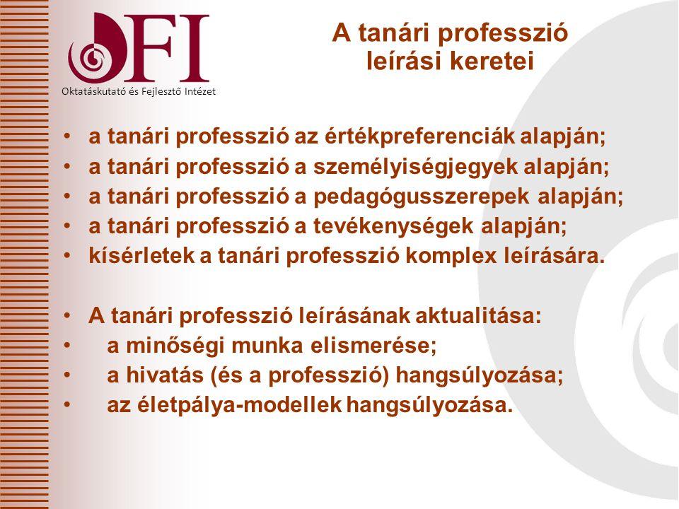 A tanári professzió leírási keretei