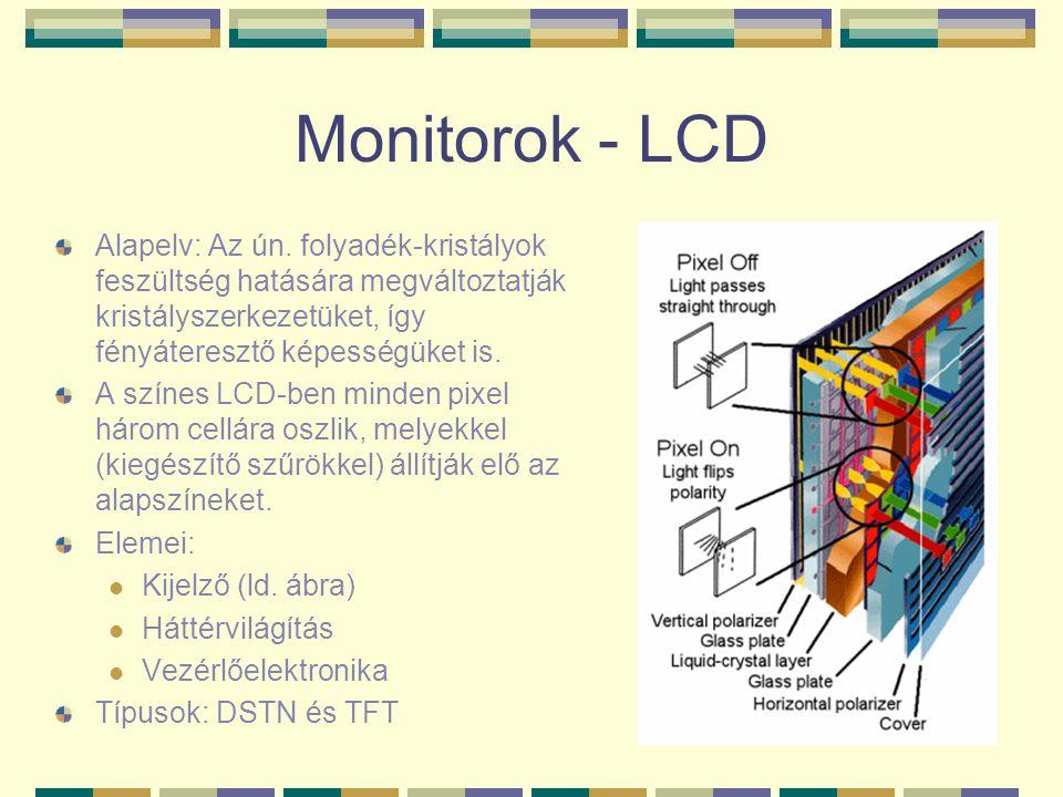 Monitorok - LCD Alapelv: Az ún. folyadék-kristályok feszültség hatására megváltoztatják kristályszerkezetüket, így fényáteresztő képességüket is.