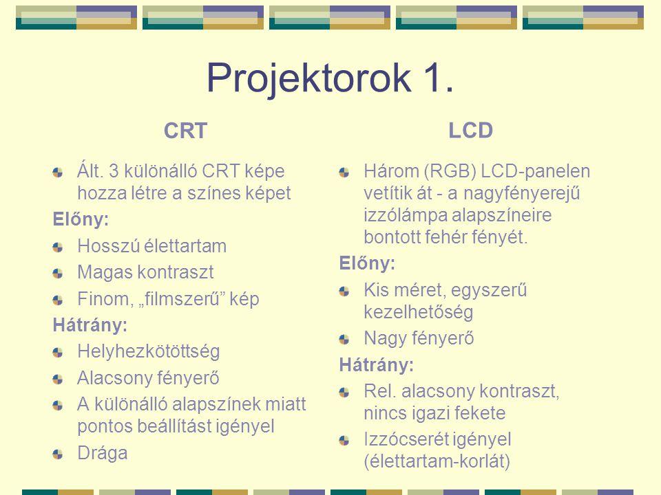Projektorok 1. CRT. LCD. Ált. 3 különálló CRT képe hozza létre a színes képet. Előny: Hosszú élettartam.