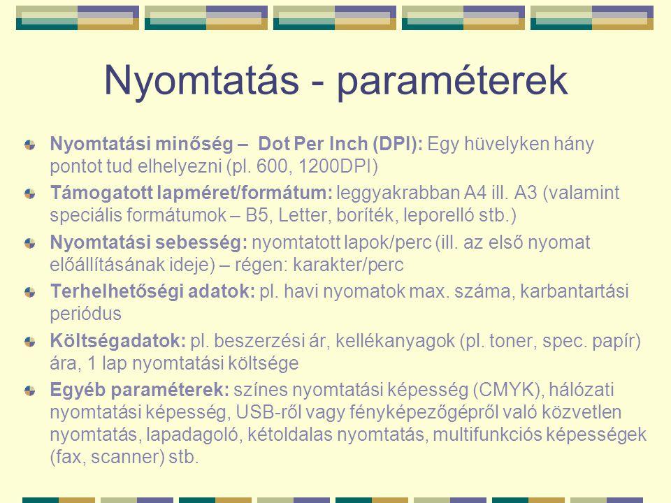 Nyomtatás - paraméterek