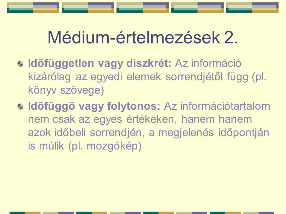 Médium-értelmezések 2. Időfüggetlen vagy diszkrét: Az információ kizárólag az egyedi elemek sorrendjétől függ (pl. könyv szövege)
