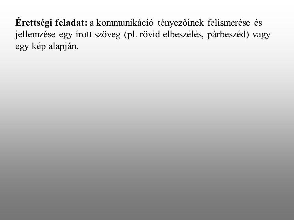 Érettségi feladat: a kommunikáció tényezőinek felismerése és jellemzése egy írott szöveg (pl.