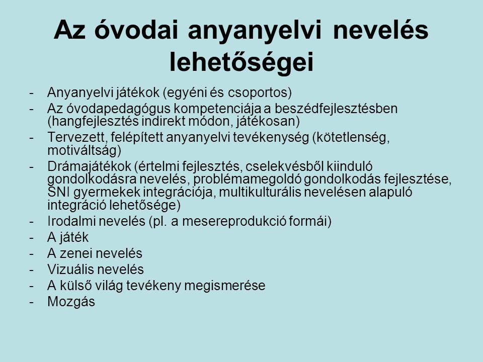 Az óvodai anyanyelvi nevelés lehetőségei