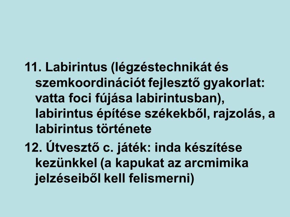 11. Labirintus (légzéstechnikát és szemkoordinációt fejlesztő gyakorlat: vatta foci fújása labirintusban), labirintus építése székekből, rajzolás, a labirintus története