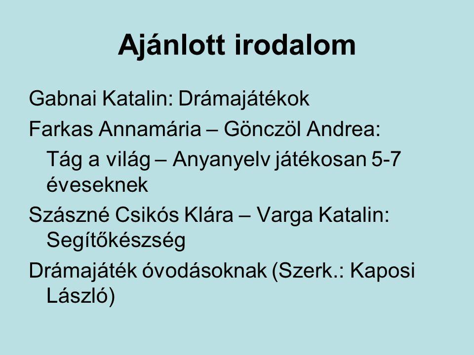 Ajánlott irodalom Gabnai Katalin: Drámajátékok