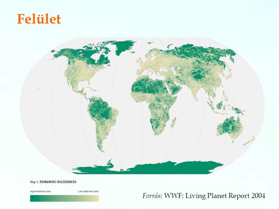 Felület Forrás: WWF: Living Planet Report 2004