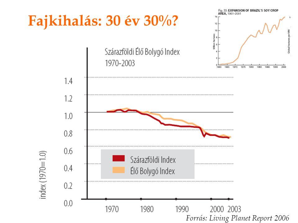 Fajkihalás: 30 év 30% Forrás: Living Planet Report 2006
