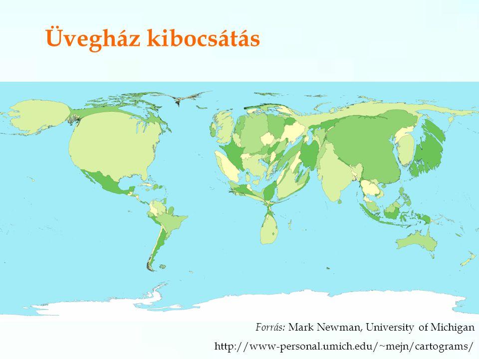 Üvegház kibocsátás Forrás: Mark Newman, University of Michigan