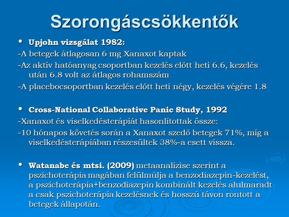 Szorongáscsökkentők Upjohn vizsgálat 1982: